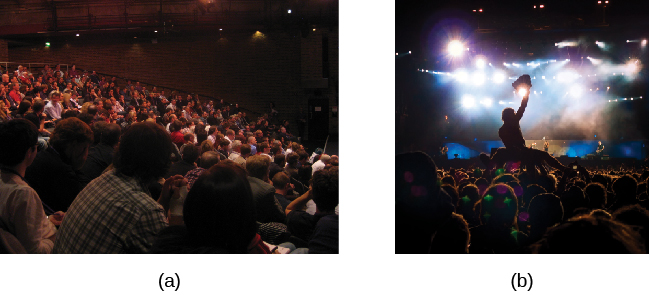Photograph A shows people seated in an auditorium. Photograph B shows a person crowd surfing.