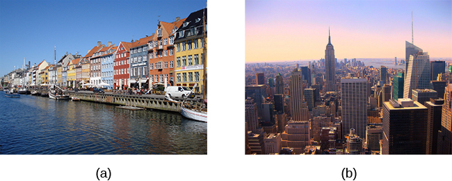Photograph A shows a row of buildings by the water in Denmark. Photograph B shows an aerial view of a city in the United States including several skyscrapers.
