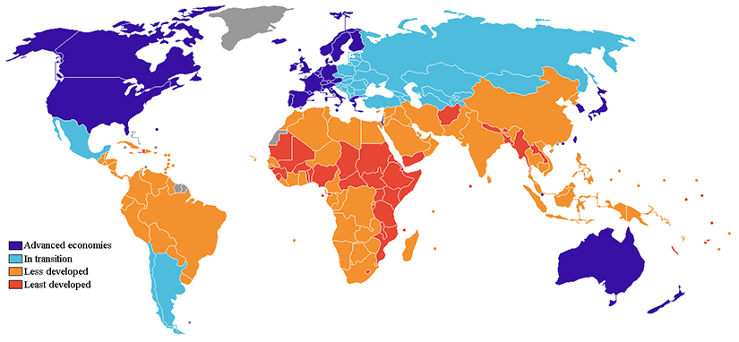 This world map shows advanced, transitioning, less, and least developed countries.