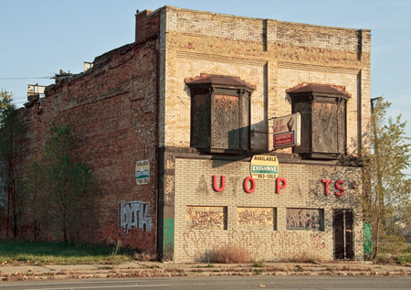 A run-down auto parts building is shown here.