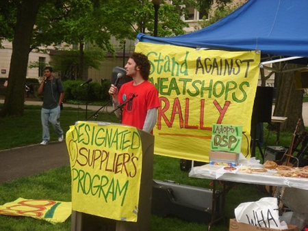 A protester giving a speech is shown here.