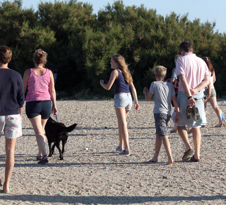 Photo (a) shows a family walking with a dog on a beach. Photo