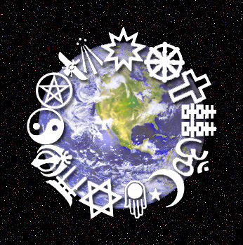 The symbols of 14 religions are depicted in a circle around the edge of an illustration of Earth, with North America and part of South America visible. The Earth illustration is shown sitting in the middle of a starry sky.