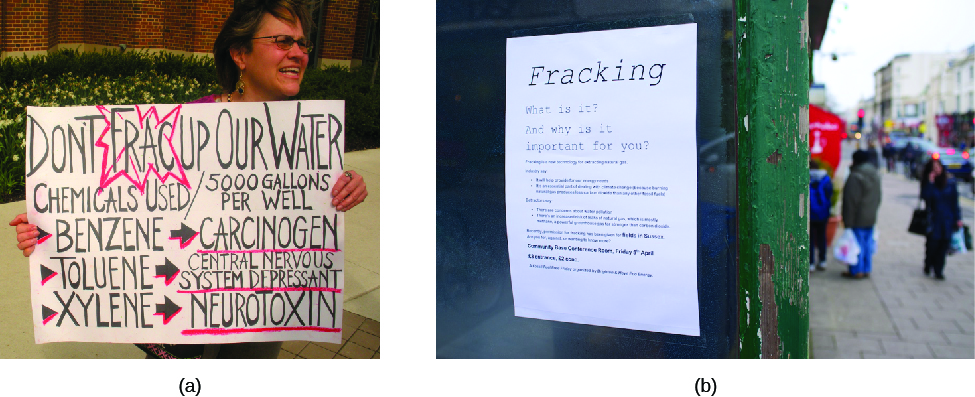 """Image A is of a person holding a sign. The sign reads """"Don't frac up our water. Chemicals used/ 5000 gallons per well. Benzene, carcinogen. Toluene, central nervous system depressant. Xylene, neurotoxin. Image B is of a poster that reads """"Fracking. What is it? And why is it important to you?"""""""