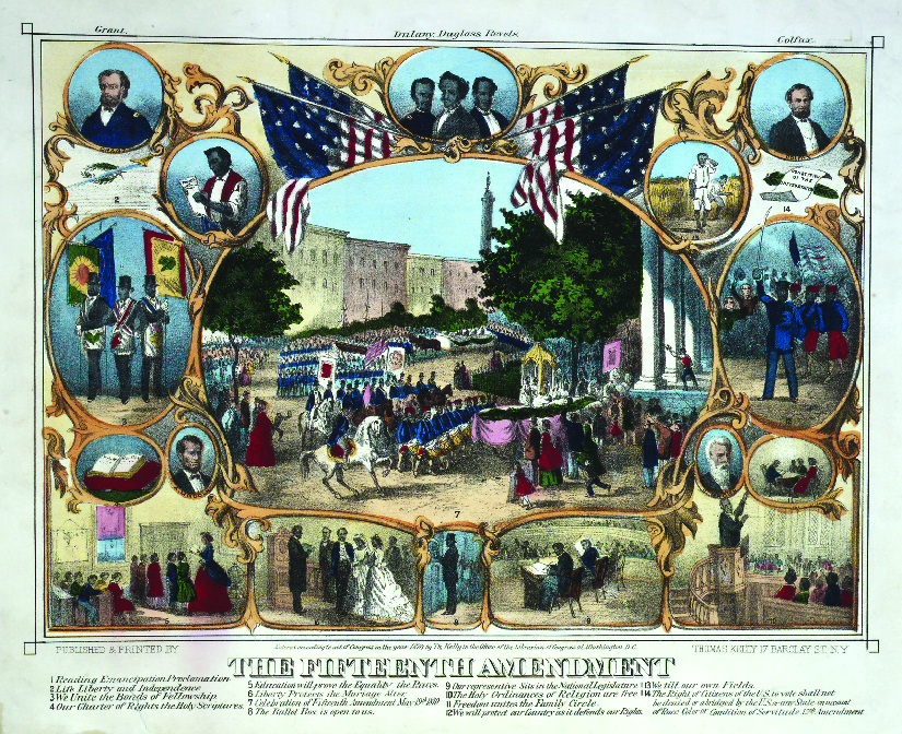 """A print from 1870 that shows several scenes of African Americans participating in everyday activities. Under the scenes is the text """"The Fifteenth Amendment""""."""