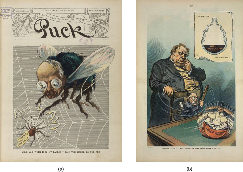 """Image A is an illustration of a large fly with a man's face. The fly is stuck in a web labeled """"The Law"""". In the center of the web is a spider labeled """"Interstate Commerce Commission"""". Under the image, a caption states """"Will you walk into my parlor?"""" The Puck magazine title runs across the top of the image. In image B, President William Howard Taft stands behind his attorney general George W. Wickersham as Wickersham tries to beat a """"Monopoly"""", depicted as a round bottomed statue of a top hat and tuxedo wearing man, with a stick labeled """"Sherman Law"""". The caption under the illustration says """"Why doesn't it stay down when I hit it?"""""""