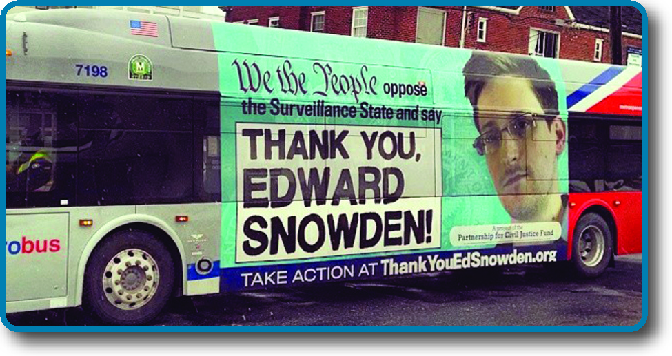 """A photo of the side of a public bus. An advertisement on the side of the bus reads """"We the People oppose the Surveillance State and say Thank you, Edward Snowden! Take action at ThankYouEdSnowden.org""""."""