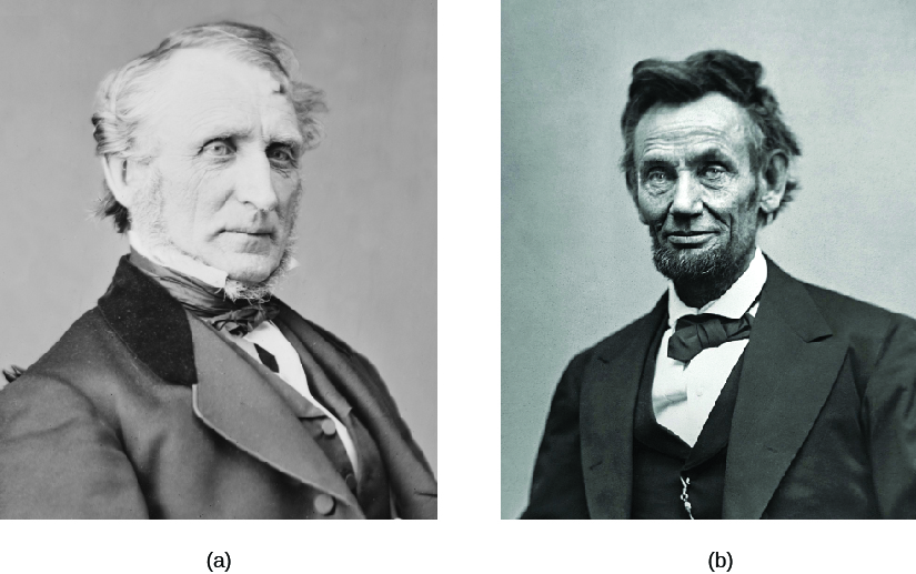 Photo A is of John Bingham. Photo B is of Abraham Lincoln.