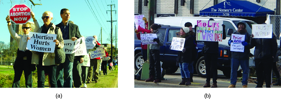 """Photo A shows a group of people in a line holding signs. The signs that are visible read """"Stop abortion now"""" and """"Abortion hurts women"""". Photo B shows a group of people in a line in front of a building holding signs. The signs that are visible read """"Trust Women"""" and """"Pro-life that's a lie you don't care if women die""""."""