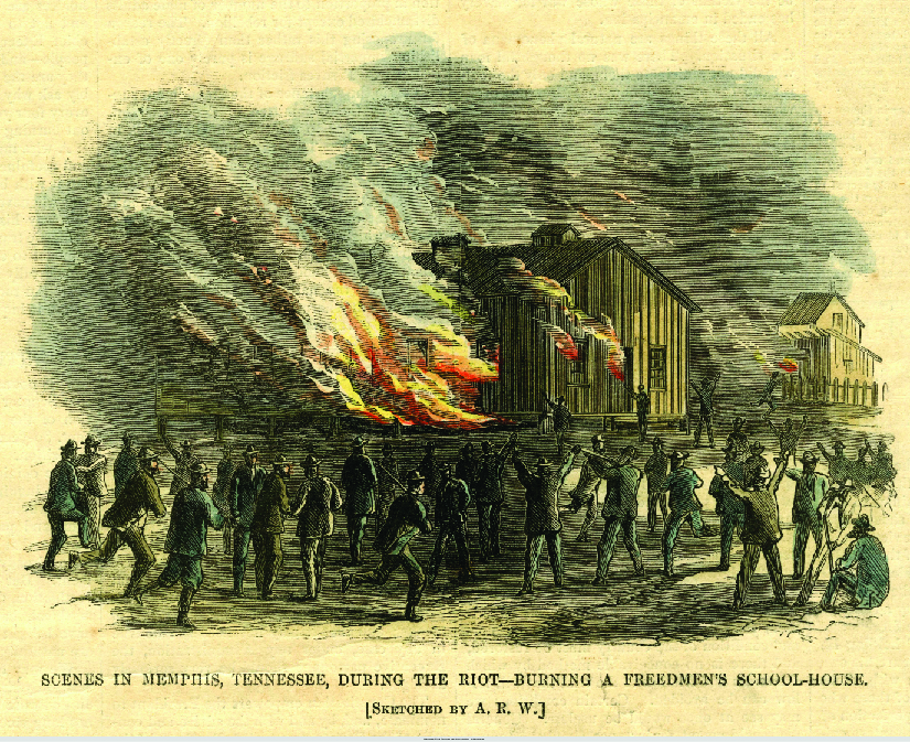 "An image of a sketch of a building on fire. Several people are standing outside the building. Some of the people are armed. At the bottom of the image reads ""Scenes in Memphis, Tennessee, during the riot—burning a freedmen's school-house. [Sketched by A. R. W.]""."