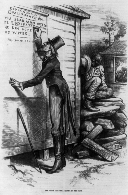 "An image of a cartoon. In the foreground a person dressed in a top hat and a coat with tails writes on the wall of a building. The writing reads ""Eddikazhun Qualifukazhun. The blakman orter be eddikated arofe he kin vote with us wites. Mr. Solid South"". In the background is a seated person facing the person who is writing."
