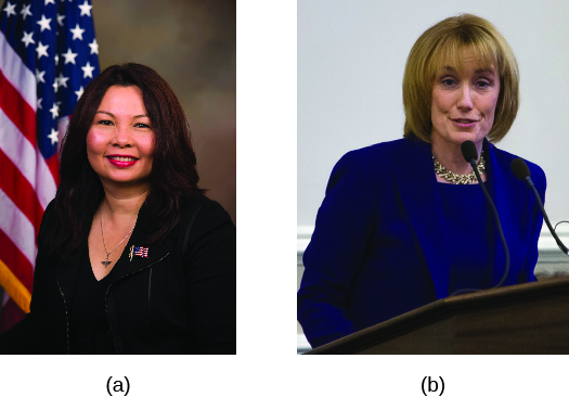 Image A is of Tammy Duckworth. Image B is of Maggie Hassan.
