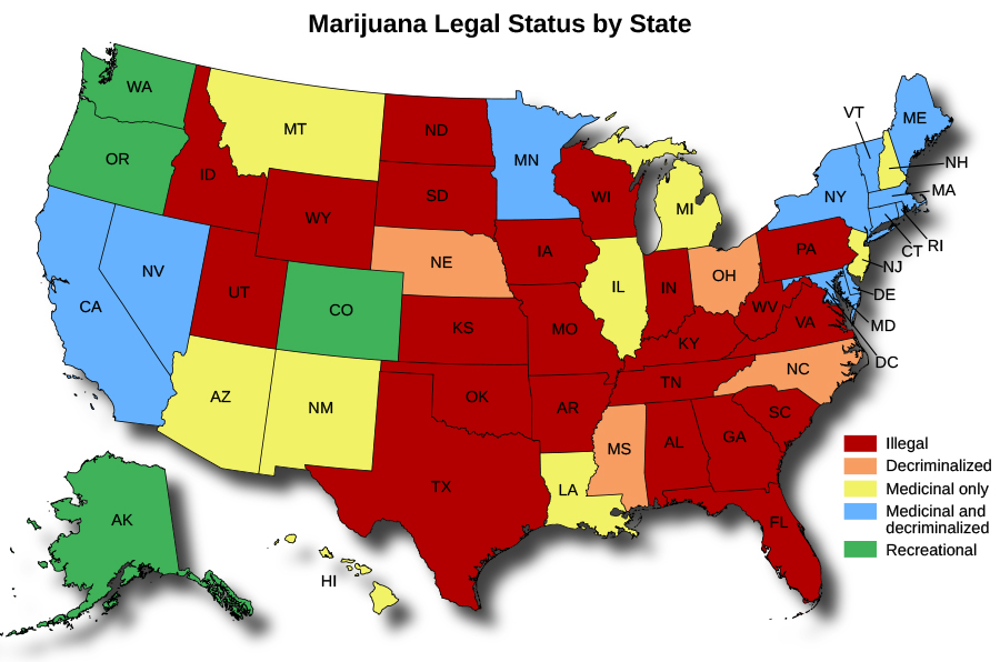 "A map of the Unites States titled ""Marijuana Legal Status by State"". The map shows in which states marijuana is illegal, decriminalized, medicinal only, medicinal and decriminalized, and recreational. Marijuana is only legal for recreational use in four states, legal for medicinal use and decriminalized in around ten states, legal for medicinal use only in eight states, decriminalized in four states, and illegal in over twenty states."