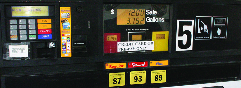 "An image of a gas pump that reads ""$12.00 Sale, 3.752 Gallons""."