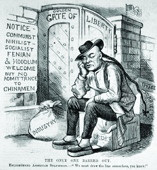 """An image of a cartoon in which a person with a long ponytail is seated in front of a gate labeled """"Golden Gate of Liberty"""". The crate the person sits on is labeled """"Order"""" and behind it is are crates labeled """"Peace"""" and """"Sobriety"""". A bag of money next to the person's feet is labeled """"Industry"""". A sign on the wall reads """"Notice – Communist Nihilist Socialist Fenian & Hoodlum Welcome but no admittance to Chinamen"""". The bottom of the cartoon reads """"The only one barred out. Enlightened American Statesmen—""""We must draw the line somewhere, you know"""".""""."""