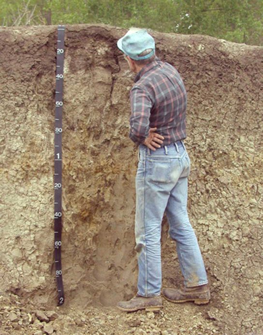 Photo shows a man standing next to a wall of soil in a pit that is as deep as he is tall.