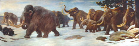 Photo (a) shows a painting of mammoths walking in the snow.