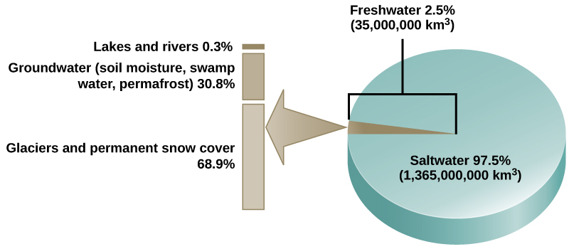 The pie chart shows that 97.5 percent of water on Earth, or 1,365,000,000 km3, is salt water. The remaining 2.5 percent, or 35,000,000 kilometers cubed, is fresh water. Of the fresh water, 68.9 percent is frozen in glaciers or permanent snow cover. 30.8 percent is groundwater (soil moisture, swamp water, permafrost). The remaining 0.3 percent is in lakes and rivers.