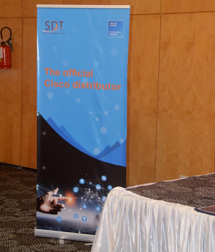 Shows a banner with the words SDT - the official Cisco distributor