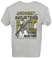 MI Mens T-Shirt, Black Guns Matter, Gray