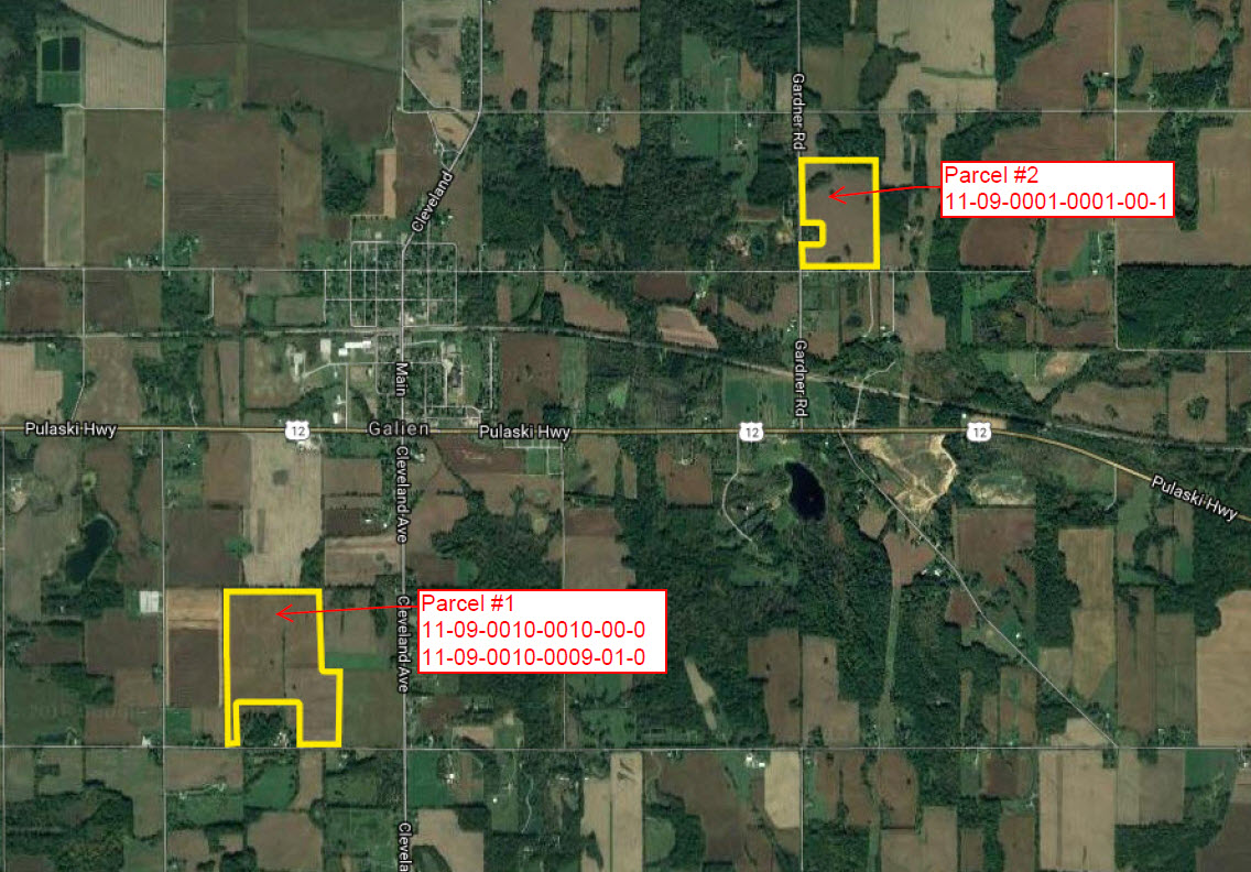 151 Acres in 2 parcels located in Berrien County, Michigan (Galien Township)