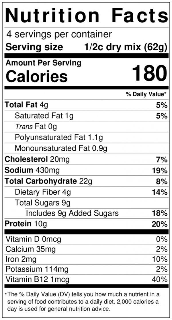 Mighty Cricket Pancake Waffle Mix Nutrition