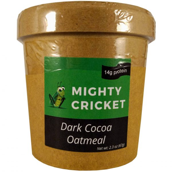 Mighty Cricket High protein dark cocoa instant oatmeal cup to go low sugar
