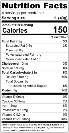 Mighty Cricket Apple Cinnamon Oatmeal Nutritional Information