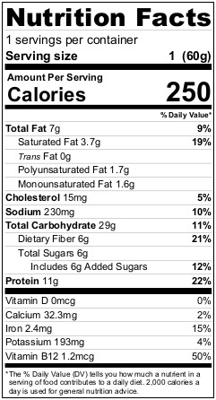 Mighty Cricket Coconut Cream High Protein Oatmeal Cup Nutrition Facts
