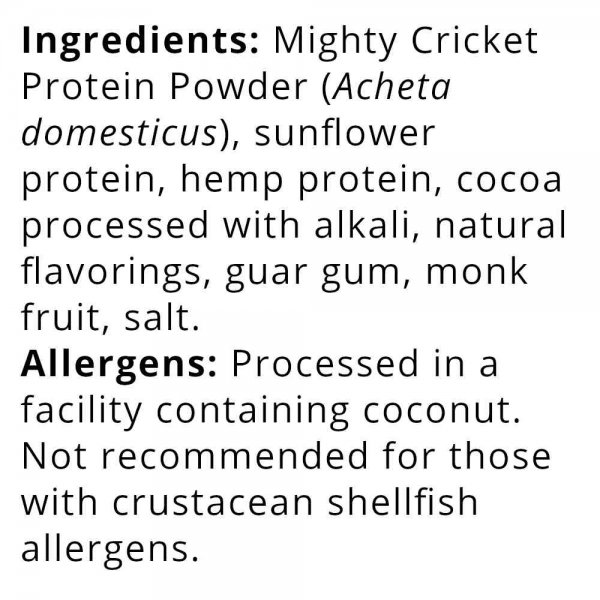 Mighty Cricket Chocolate protein powder gluten free non gmo all natural dairy free soy free egg free organic