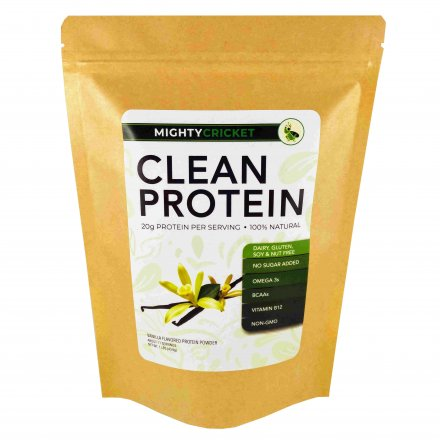 mighty cricket vanilla sunflower cricket hemp protein powder no sugar added dairy free gluten free soy free tree nut free peanut free organic non gmo sustainable