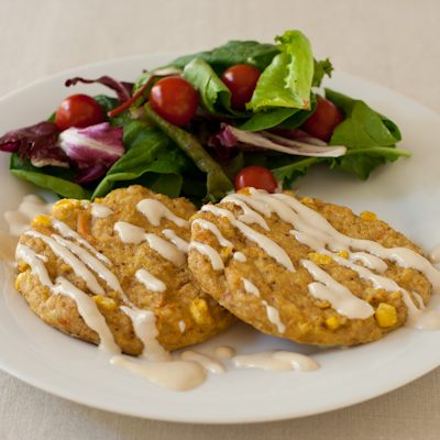 Red corn crab cakes