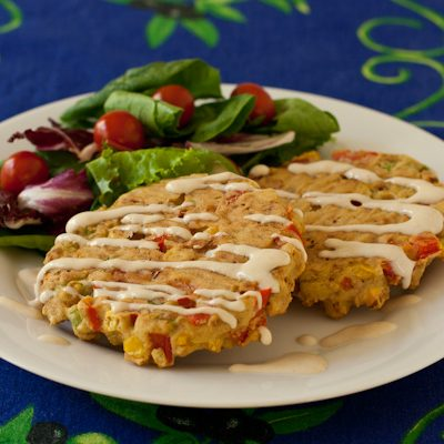 "Corn, Red Pepper, and ""Bacon"" Cakes"