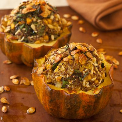 Acorn squash with persimmon-quinoa filling
