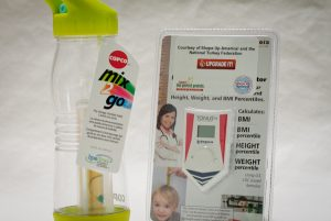 Mix 2 go water bottle and BMI meter for kids
