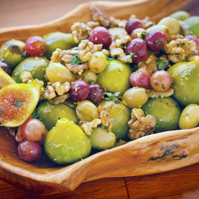 Roasted figs and grapes with walnuts, thyme, and sea salt