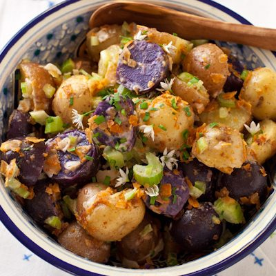 German potato salad with vegan bacon