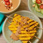 Tofu Satay with spicy peanut sauce and Thai cucumber salad