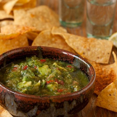 Roasted tomatillo and avocado salsa