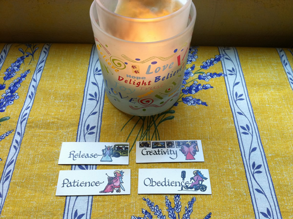 Angel cards and candle