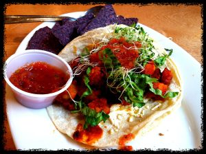 Tempeh tacos at Lotus Cafe