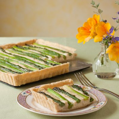 Asparagus potato tart with white truffle oil