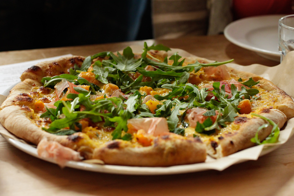 La Bicyclette pizza with butternut squash