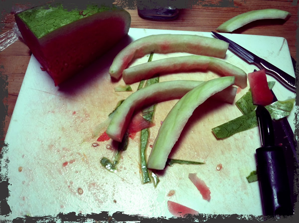 how to cut off the rind of a watermelon