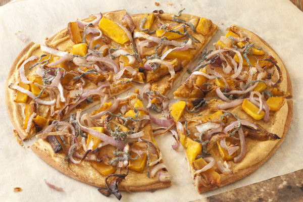 Smoky butternut squash pizza with sage ribbons and caramelized onions