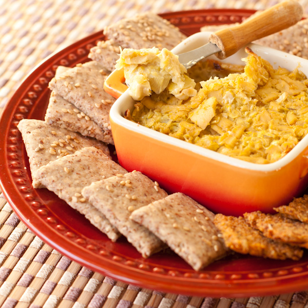 Artichoke Onion Dip with Sesame Crackers