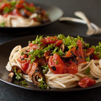 Pasta Alla Puttanesca, vegan and gluten-free