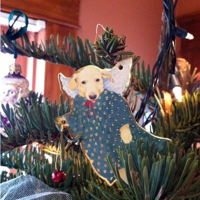 Doggie angel ornament