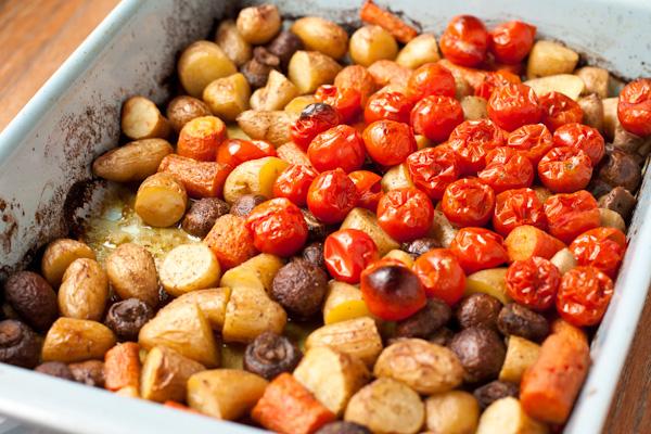 Roasted veggies in pan