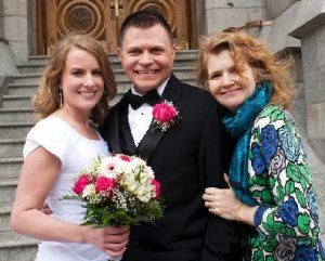 Bride and groom with aunt